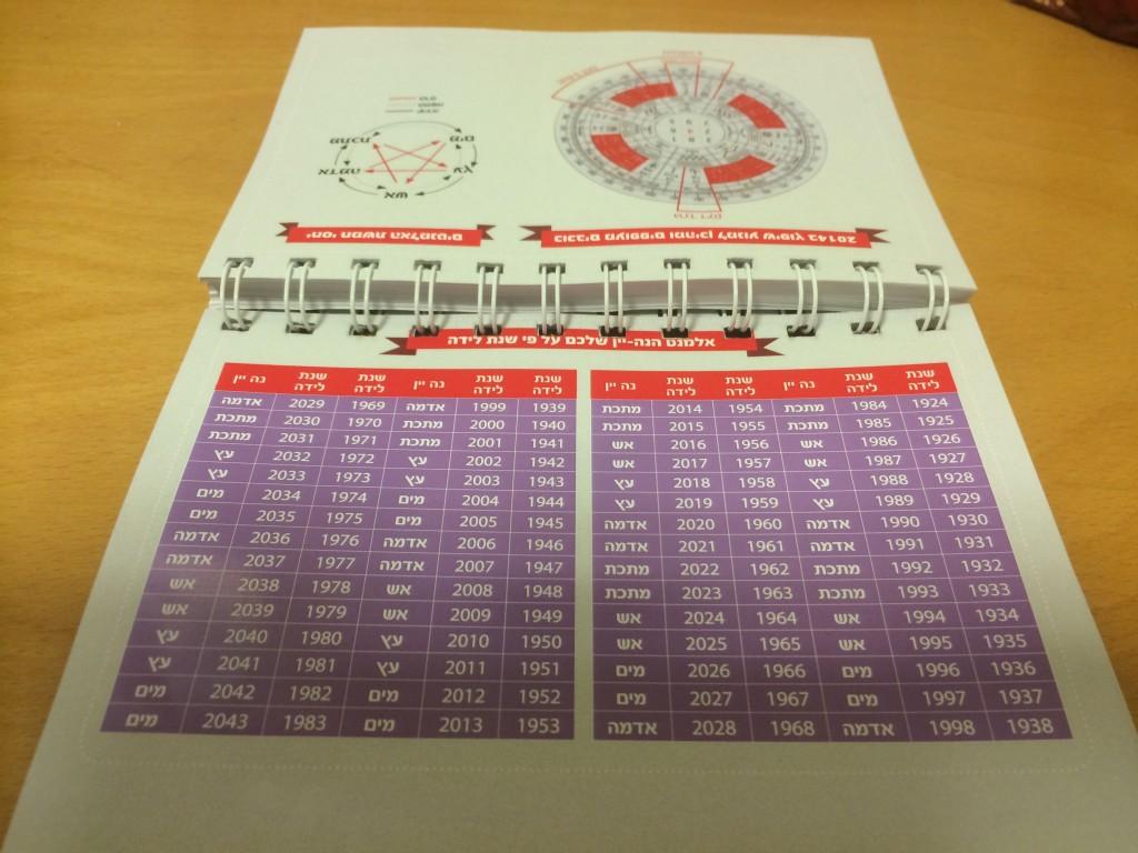יומן כיס לוח השנה הסיני לשנת הכבשה